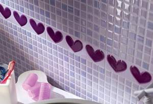 Pop Up Heart Lilac Listello 6x25